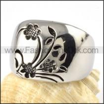 Stainless Steel Flower Design Ring r000072