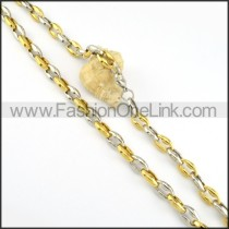 Succinct Two Tone Plated Necklace      n000190