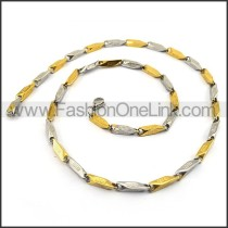 Succinct Silver and Gold Plated Necklace n001142