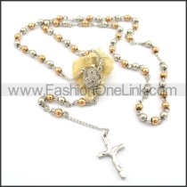Delicate Cross Rosary Necklace n000726