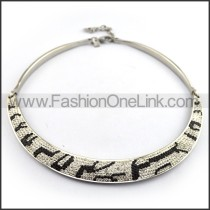 Unique Silver Necklace with Black Stone n001209