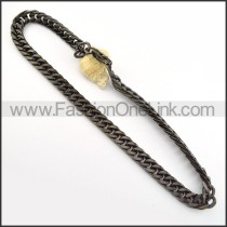 Succinct Black Plated Necklace      n000243