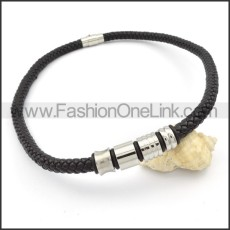 Black Leather Necklace   n000101