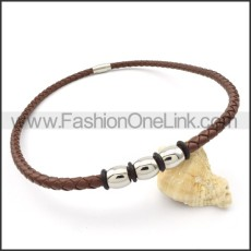 Brown Leather Necklace   n000097