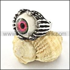 Stainless Steel Prong Setting Dark Red Eye Ring r000530
