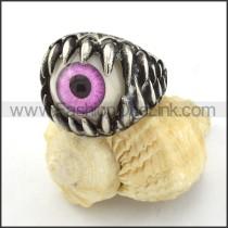 Stainless Steel  Purple Eye Ring r000535