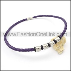 Purple Leather Necklace  n000090