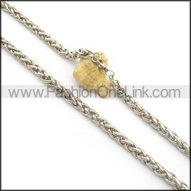 Silver Interlocking Stamping Necklace n001005