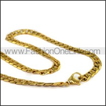 Gold Interlocking Chain Plated Necklace n001120