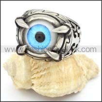 Stainless Steel Light Prong Setting Blue Eye Ring r000323