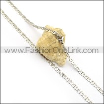 Silver Flat Chain Plated Necklace n000900