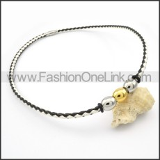Black and White Leather Necklace  n000092