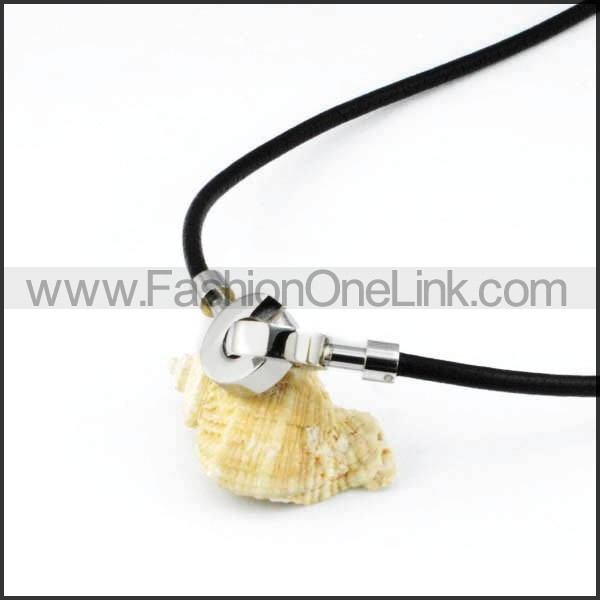 Silver Round Rubber Necklace     n000001