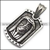 Silver Jesus Dog Tag Pendant p007194