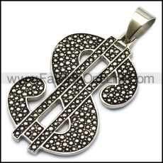 vintage style stainless steel US dollar sign pendant p007601