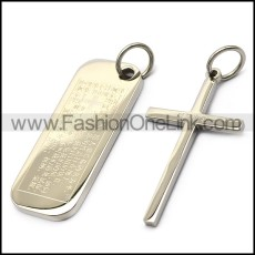 stainless steel cross and dog tag p007719