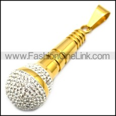 24k gold plating stainless steel microphone pendant with clear rhinestones p007796