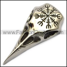 hollow stainless steel raven pendant p007875