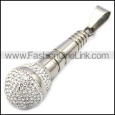 silver stainless steel karaoke microphone bling pendant p007795