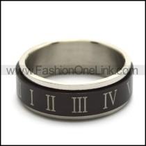black roman numeral spinner ring for unisex r005167