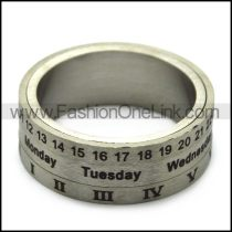 silver three layers time spinner ring r005373