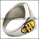 stainless steel lucky seven skull ring r005940