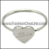 silver tone stainless steel heart ring engraved LOVE r005836
