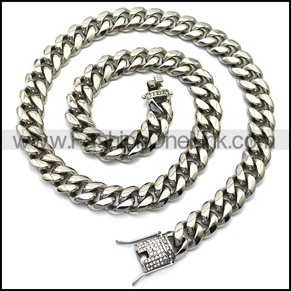 1.4cm stainless steel bling hip hop necklace n002225