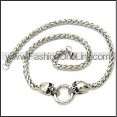 stainless steel chain with 2 skull heads and 1 smart ring n002332