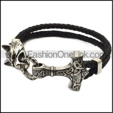 Viking Stainless Steel Wolf and Hammer Bracelets b008807