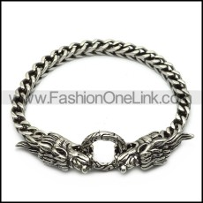 Stainless Steel Casting Square Chain Bracelet with 2 Dragon Heads b007063
