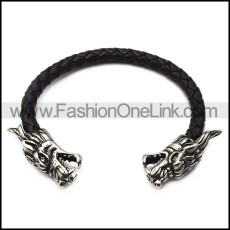 black real leather dragon bangle b007070