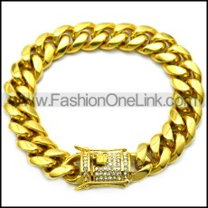 golden stainless steel hip hop bracelet with bling buckle b007989