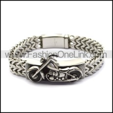 silver stainless steel chain bracelet with motorcycle tag for bikers b006703