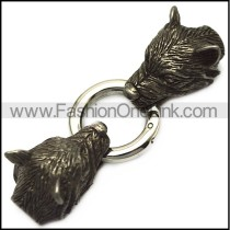 black wolf heads end cap for 5mm wide chain cord or beads a000683