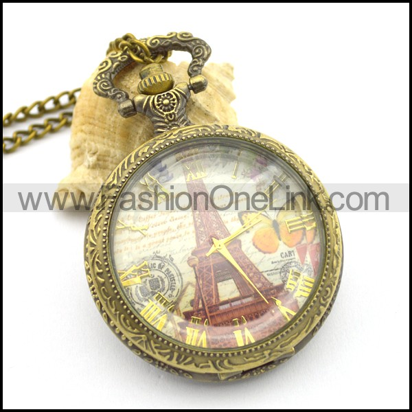 Transfer Cover 1889 Eiffel Tower Pocket Watch Chain pw000414