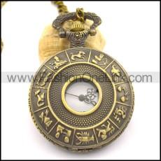 antique bronze twelve constellations pocket watch chain pw000406