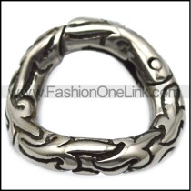 19mm wide textured donut clasp in vintage stainless steel a000749