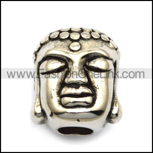 Steel Buddha Head Bead a000520