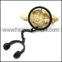 Black Head Phone Key Chain k000028