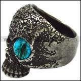 Blacken Stainless Steel One Blue Evil Eye Skull Ring r007476