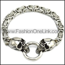 Silver Stainless Steel Casting Skull Heads Bracelet with Smart Ring b009595