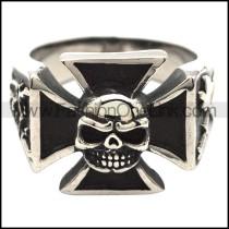 Stainless Steel Cross Skull Biker Ring r000524