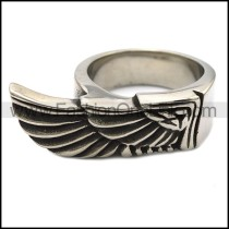 Large Wing Ring in Stainless Steel r000092