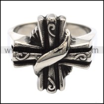French Stainless Steel Cross Ring r000079
