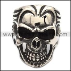 Stainless Steel Biker Skull Ring r000548
