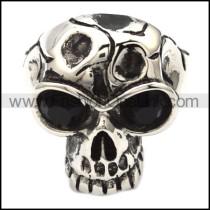 Stainless Steel Black Eyes Skull Ring r000468