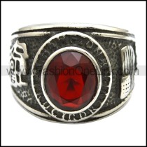 Vintage Stainless Steel Stone Ring   r003250