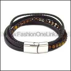 Stainless Steel Leather Bracelet b009808H6