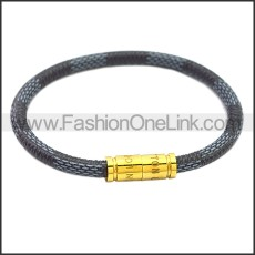 Stainless Steel Leather Bracelet b009810B